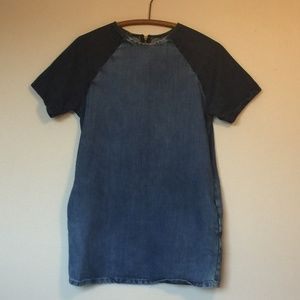 TOPSHOP Denim Mini Dress with Contrasting Sleeves